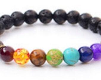 Bracelet Beaded 7 Chakra Raki Healing Lava Stone Multi Color