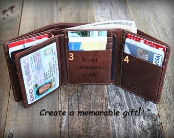 Father's Day Gift - Father's Gift for him - Trifold Mens Wallet - Personalized Mens Wallet - Gift for Dad - Leather Mens Wallet -Toffee 7133