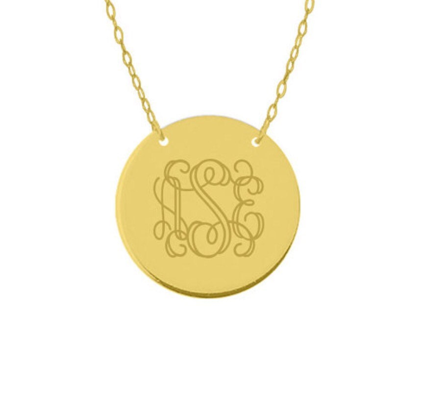 14k solid gold 12 inch small disc pendant engravable pendant 14k 14k solid gold 12 inch small disc pendant engravable pendant 14k solid gold monogram disc necklace mozeypictures Choice Image