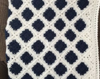 Crocheted Navy Blue and White Baby Blanket