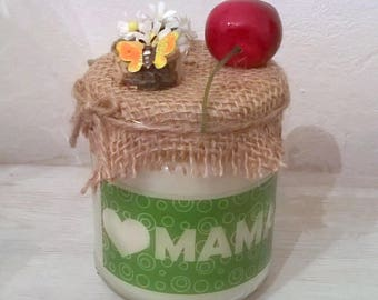 Candle gift celebrates mothers cherry and rustic theme