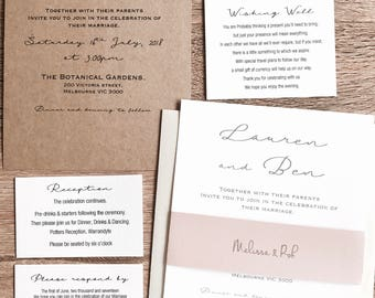 Personlised Wedding Invitation Sets with envelope. Guest belly band