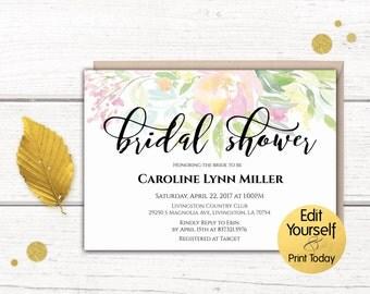 Bridal Shower Invitation Template, Bridal Shower Invitation, Bridal Shower Invite, Editable Bridal Shower Invitation, Watercolor Invitation