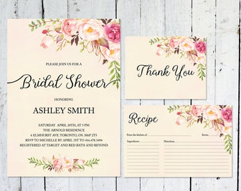 Bridal Shower Invitation, Boho Bridal Shower Invitation, Bridal Shower Printable, Thank You Cards, Recipe Card, Bridal Shower Kit, Boho Chic