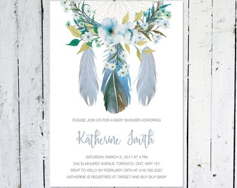 Baby Shower Invitation Boy, Dream Catcher Baby Shower Invitation, Feather Baby Shower Invite, Boho, Flowers, Watercolor, Printed, Printable