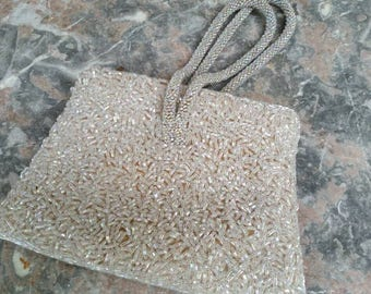 Vintage Taupe Beige Beaded Evening Bag Exceptional Cond