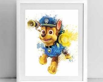 Chase, Paw Patrol, 8x10 inches, 11x14 inches, Chase printable, Chase watercolor, Chase wall decor, Nursery, Kids room decor