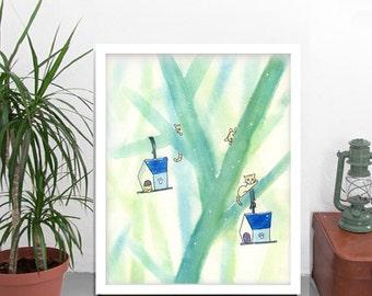 Feral cat digital download, cat art printable, cat art instant file, cat fantage art, cat art imagination, cute cat illustration