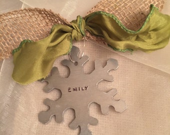 Christmas ornamnent rustic burlap peronalized hand stamped with name or custom message or greeting