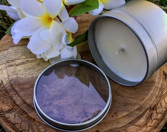 Frangipani Scented Premium Natural Soy Wax Container Candle In Medium Clear Lid Metal Travel Tin - 6oz - 100g