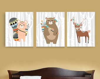 Woodland Animals Nursery Set Forest Animals Nursery Decor Woodland Animals Canvas Set Woodland Tribal Animals print or canvas set custom