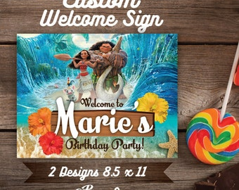 Moana Welcome Sign, Moana Custom Welcome Sign, DIY, Printable Moana Welcome Sign, Moana Birthday, Moana Party, Moana, Vaiana