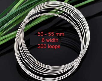Silver Tone Memory Beading Wire 0.6 mm Thick,Bracelet 50 mm - 55 mm, Pack of 200 Loops (1442)