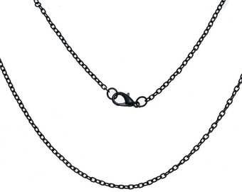"""3 Link Cable Chain Necklaces Black 62cm (24 3/8"""") long  (B161a2)"""