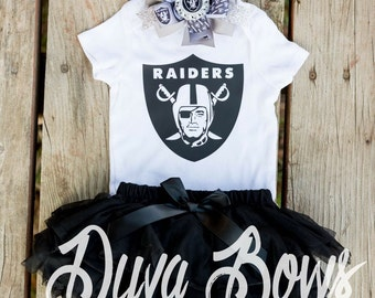 Raiders onesie - raiders - football onesie - oakland raiders onesie - CARR - raiders shirt - raiders bow - raiders outfit