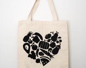 Food Heart Tote Bag