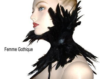 FEATHER NECK COLLAR, steampunk black feather neck collar, feather collar, feather choker, one size adjustable, gothic feather neck corset.