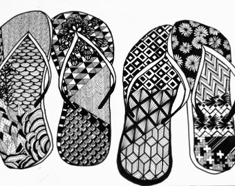 FLIP FLOP (rare and original illustration, black ink, summer and vintage shoes with lovely patterns) Print