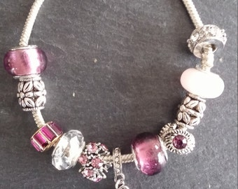 fushia, pendant, Rhinestones, charms bracelet (balances 1 bought the 2nd at 50%)