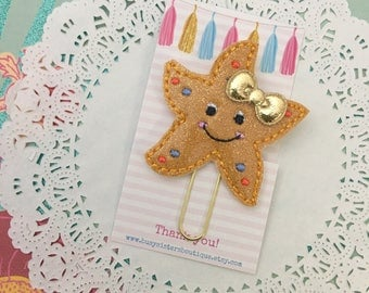 Planner clip - glitter starfish