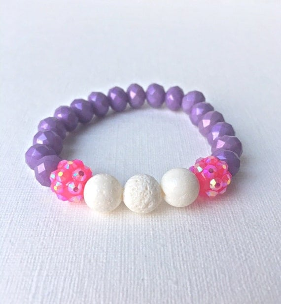 Child Essential Oil Diffuser Bracelet - gift for daughter - gift for girl - white coral, purple, and hot pink beaded stretch bracelet