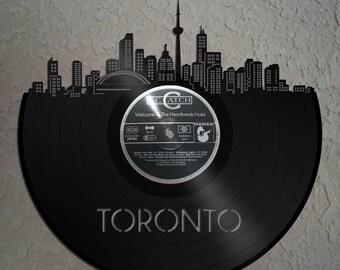 Vinyl Wall Art - Wall Decor Toronto Skyline, Toronto Cityscape,VinylShopUS Vinyl Record Art, Home Wall Decor, Wall Hanging Deco Skyline