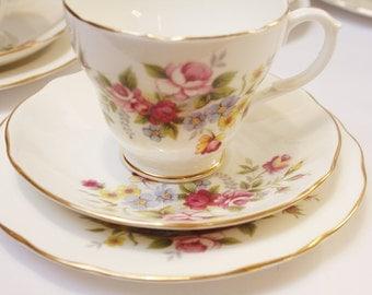 Floral  DUCHESS  bone china tea set: tea cup, saucer and tea plate. Such a pretty teaset.