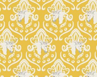 SALE Art Gallery Fabric - Sara Lawson Fantasia Equus Crest in Shine Yellow - Unicorn Fabric - Unicorns - Clearance Fabric by the Yard