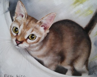 Portrait of the Kitty Oil Painting Cat