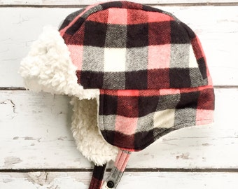 Red Plaid Trapper Hat - Red and Black Plaid Aviator Hat - Flannel Bomber Hat - Toddler Winter Hat - Adult Earflap Hat - Lumberjack Hat