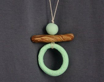 Polymer Clay Pendant in mint green and brown