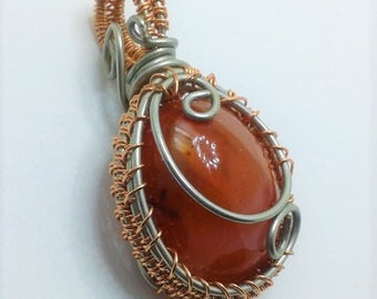Oh My Orange! wire wrapped semi-precious stone!