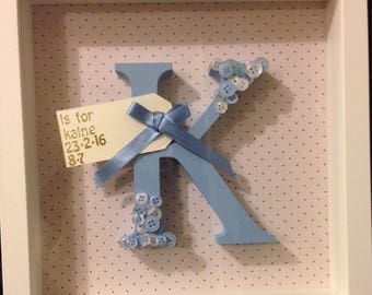 Personalised Wooden Letter Box Frame Gift Baby Nursery Christening