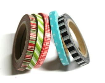Skinny Washi Tape - Washi Tape - Paper Tape - Planner Washi Tape - Washi - Decorative Tape - Deco Paper Tape - Multi Roll Pack