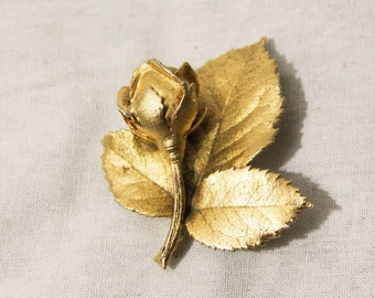 1950s Vintage Gold Cast Rose Brooch