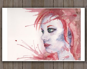 Watercolour Art Print - Red Hair Woman Portrait / Redhead Instense Eyes / Splatter Blown Handpainted Watercolor Painting