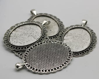 50 pcs Oval Antique Silver Bezel - for 30x40mm - Oval Pendant Blank Bezel for Cabochon Cameo Pendants, Photo Jewelry