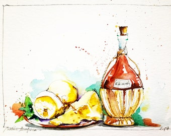 "Original Watercolour - Free delivery ""Chianti and Italian cheeses"" (wine gastronomy ingredient Tuscan Basil paint)"