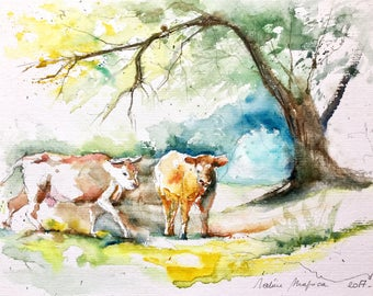 """Original Watercolour - Free shipping """"2 cows under the trees"""" (trees animal campaign cattle landscape meadow nature)"""
