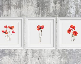 Poppies Cross Stitch Pattern Watercolor Flower Set 3 in 1 Poppy Modern Wall Art, Counted Chart Birthday Diy Gift Floral Modern Embroidery