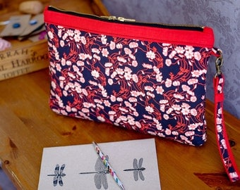 Oversize clutch bag in Liberty print. Handmade red & black clutch bag. Detachable wristlet. ipad case. Office to evening. Large evening bag