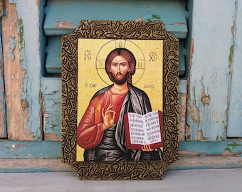 Messiah of Nazareth,Lord God Christian Painting,Religious Rustic Icon,Housewarming Gift,Blessing Gift,Traditional Religious Art,Icon of God