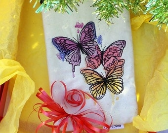 Sale 11.00 (originally 21.00)Colorful Butterfly Pouch, Kindle pouch, Makeup pouch, E-reader pouch, Gadget pouch, Nook pouch, Travel pouch
