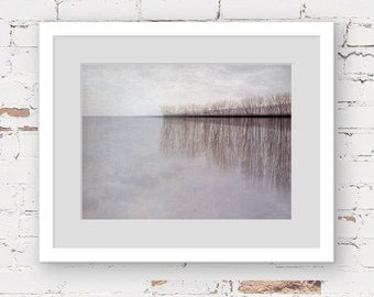 lake landscape art print, grey minimal landscape, grey abstract landscape, moody landscape, whimsical art print, minimal photography print