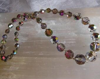 Vintage Glass Bead Graduated Choker Necklace,  Aurora Borealis