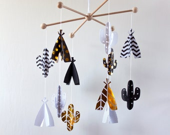 BABY TRIBAL MOBILE, Teepee and cactus mobile, Black and white baby mobile, Tribal nursery, Baby crib mobile, Nursery decor, Baby Shower