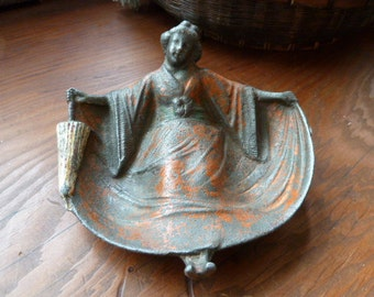 Vintage metal card receiver, pin tray, Asian lady card holder or pin holder