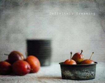 Fine Art Food Photo, Still Life with Home Grown Fruit & Vintage Bakeware, Fine Art Photograph, Kitchen Wall Art, Fine Art Food Photograph