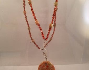 Sparkling Sunstone and Crystallized Agate Necklace with Oval Pendant