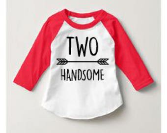 2nd birthday shirt Toddler Two Handsome Raglan shirt cute birthday shirt cute toddler shirt second birthday outfit Toddler Graphic Tee